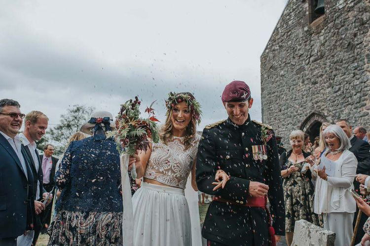 Bride In Separates With Groom In Military Uniform / Image by Jo Greenfield Photographer