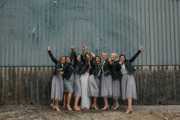Boho Wedding At Caerhyn Farm With Camper Van And Bride And Bridesmaids In Separates With Images From Jo Greenfield Photographer