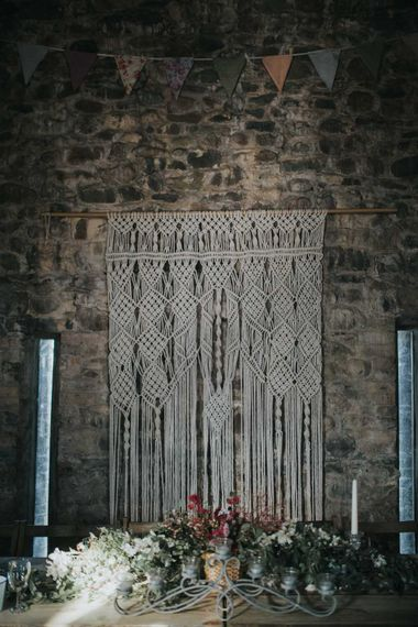 Macrame Wall Hanging For Wedding / Image by Jo Greenfield Photographer