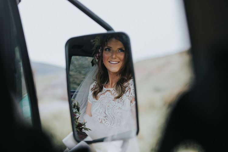 Bride In Camper Van On Wedding Day / Image By Jo Greenfield Photographer