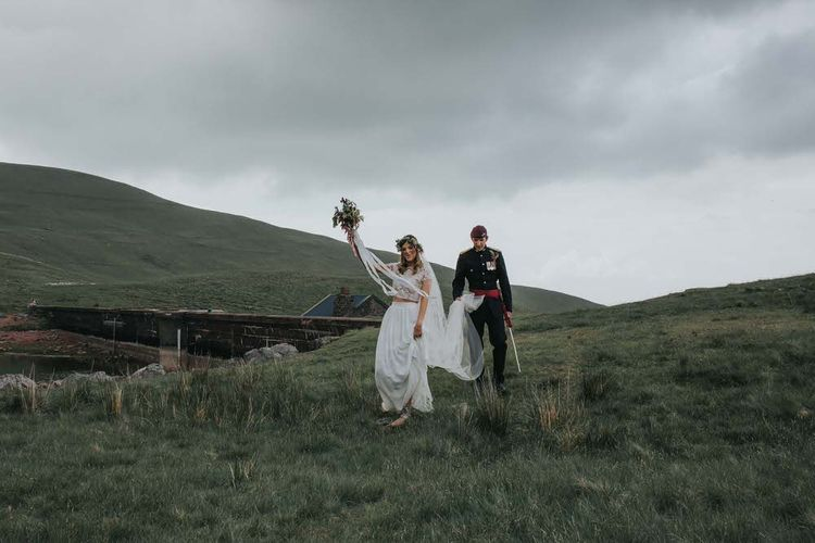 Bride In Separates For Welsh Countryside Wedding / Image By Jo Greenfield Photographer