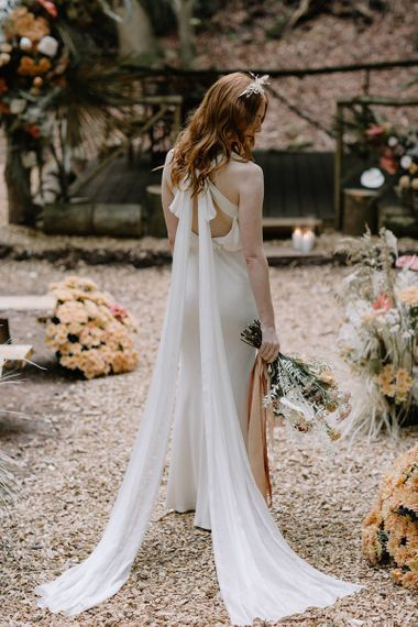 Fitted Wedding Dress with Cross Over Bow Back Detail