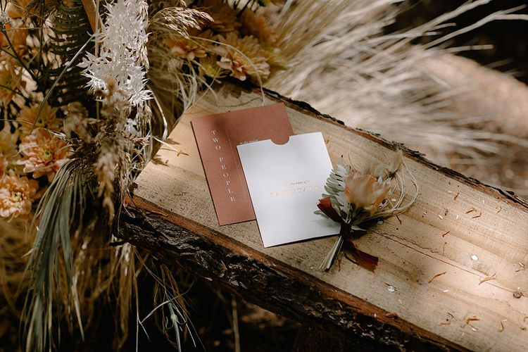 Rust, White and Gold Minimalist Wedding Stationery