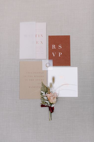 Rust, White and Gold Minimalist Wedding Stationery with Vellum