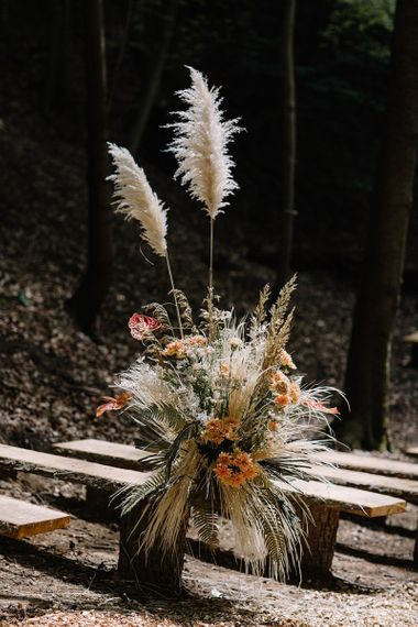 Floral Arrangement with Pampas Grass, Orange and Dried Flowers