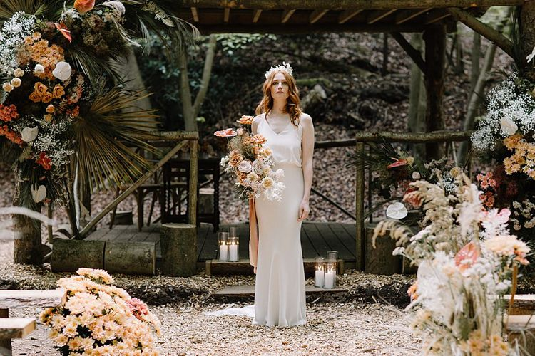 Beautiful Bride in Fitted Wedding Dress at Woodland Wedding