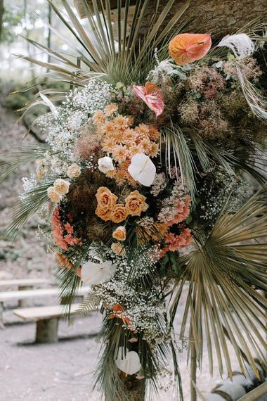 Dried Foliage and Grasses with Orange and White Flowers