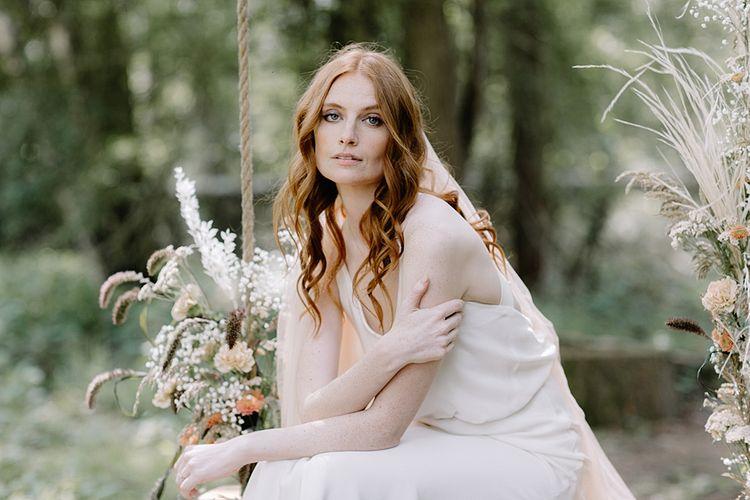 Beautiful Bride with Natural Makeup and Wavy Hair