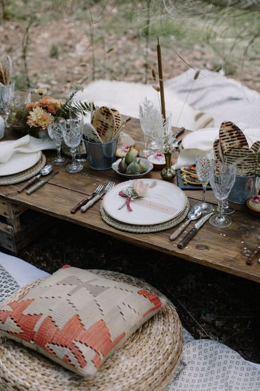 Informal Wooden Grazing Table with Cushion Seating