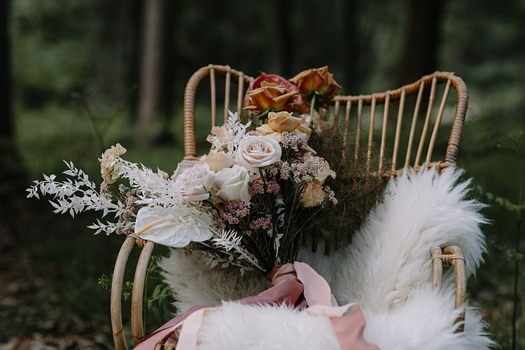 Bamboo Chair with Wedding Bouquet on