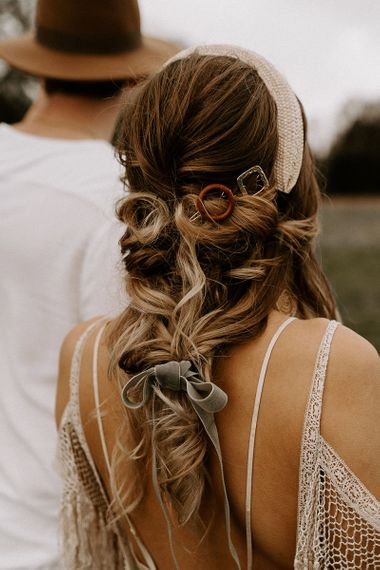 Loose Bridal braid with Ribbon and Hair Accessories