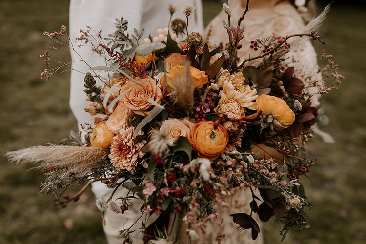 Wild Bridal Bouquet with Burnt Orange Flowers, Foliage and Dried Grasses