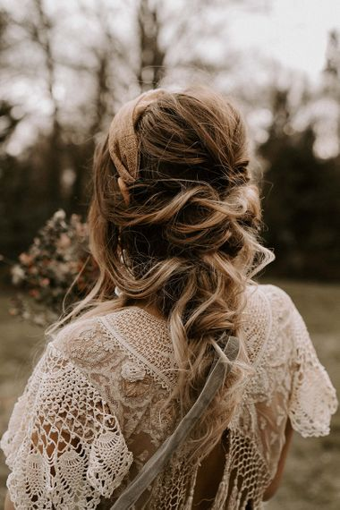 Loose Bridal Braid Up Do with Tied Ribbon Accessory