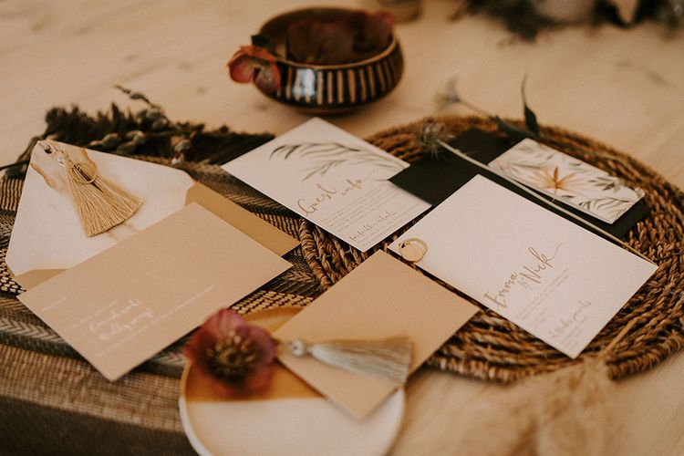 Neutral Wedding Stationery with Tassel Detail