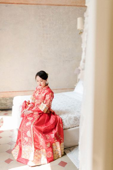 Bride in Traditional Chinese Red Dress