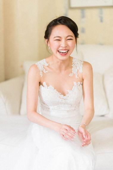 Beautiful Bride in Lace Illusion Neck Anna Kara Wedding Dress