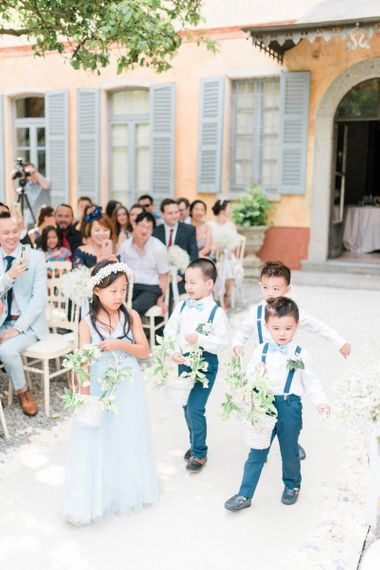 Flower Girl in Blue Dress and Page Boys in Bow Ties and Braces
