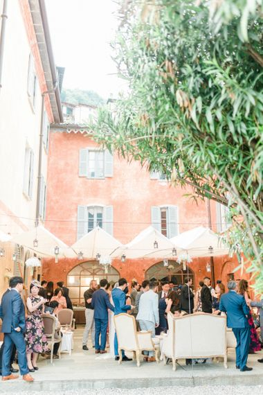 Italian Villa with Hanging Chinese Lanterns Wedding Decor