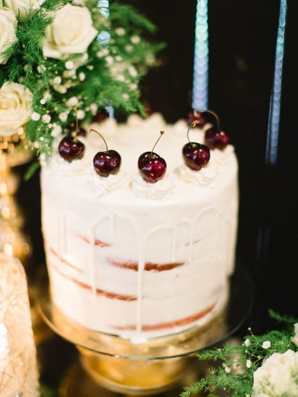 Amazing Cake With Cherries For Bridal Shower