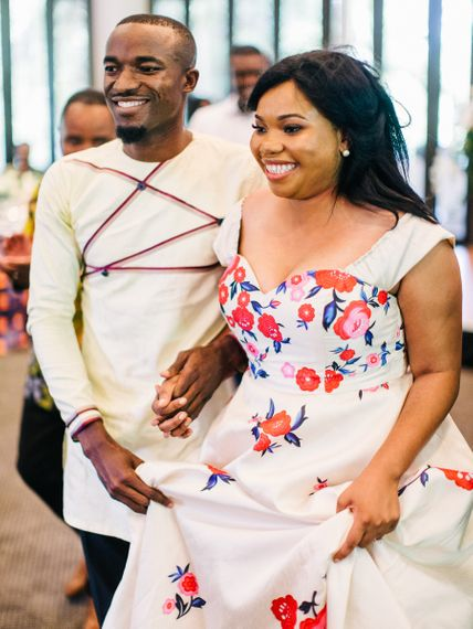 Floral Detail Dress For Africa Wedding