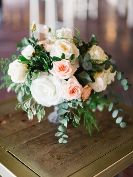 Wedding Bouquet In Whites and Peaches