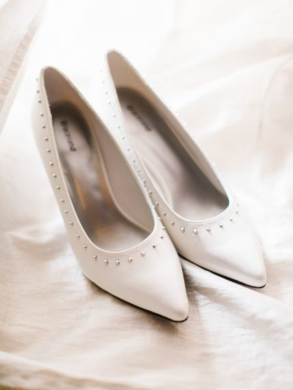 Cream Bridal Shoes With Studs