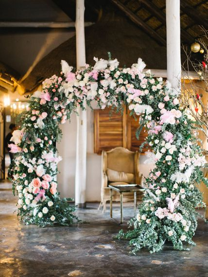 Pink Flower Arch For Africa Wedding