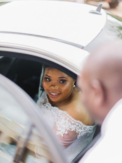 Bride In Wedding Car For Africa Wedding