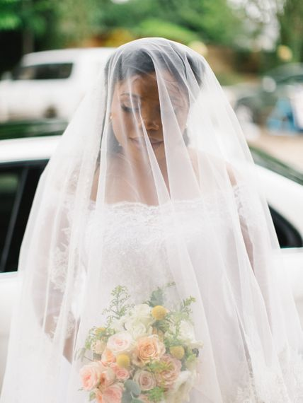 Bride With Veil Over Face Ready For Ceremony