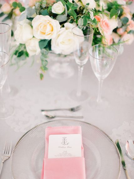 Wedding Place Setting With Pink Details