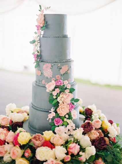 Grey Wedding Cake With Flower Details