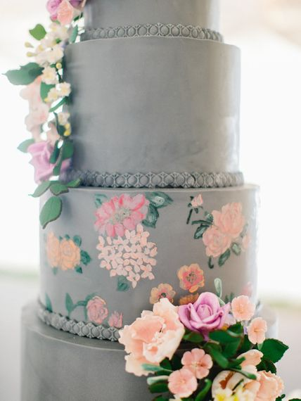 Hand-Painted Wedding Cake With Flower Decor