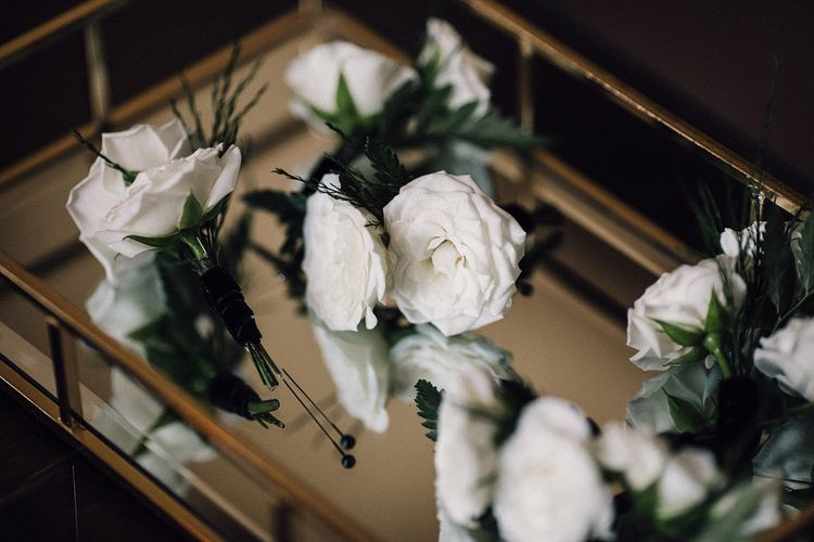 White Rose Buttonholes For Groom & Groomsmen // Image By Samuel Docker Photography