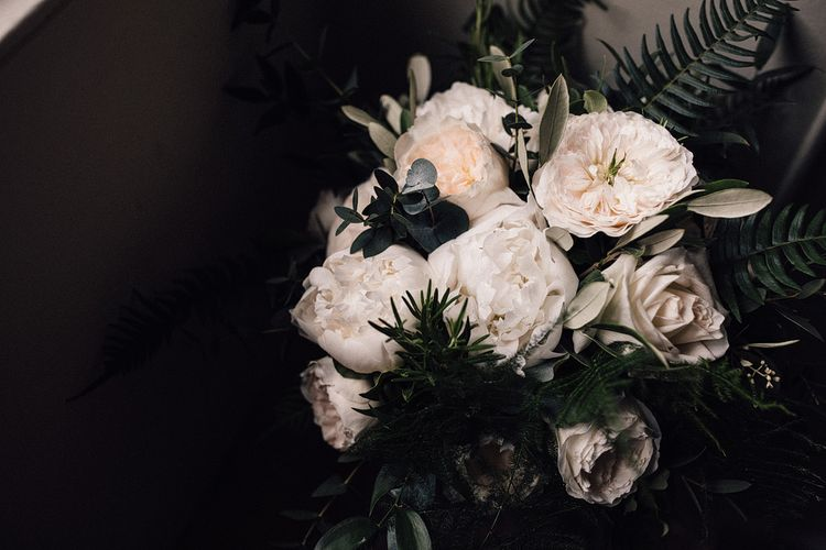 White Rose & Peony Wedding Bouquet // Image By Samuel Docker Photography