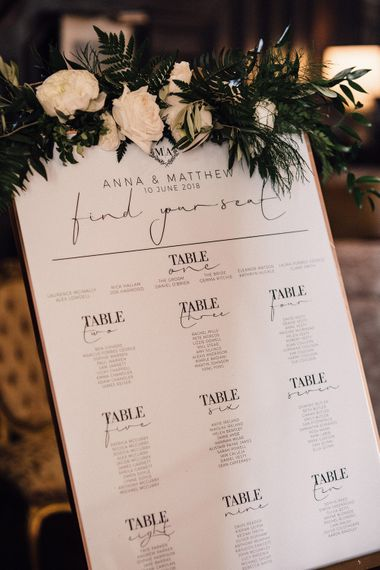 Monochrome Table Plan For Wedding // Images From Samuel Docker Photography