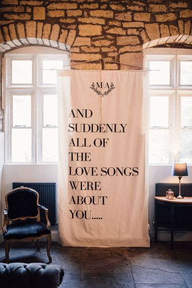 Linen Sign For Wedding // Images Wedding Speeches // Images From Samuel Docker Photography