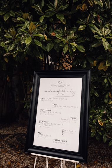 Monochrome Order Of The Day Sign For Wedding // Images From Samuel Docker Photography