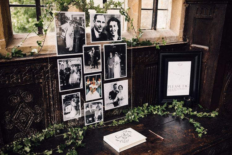 Vintage Photo Display For Wedding // Images From Samuel Docker Photography