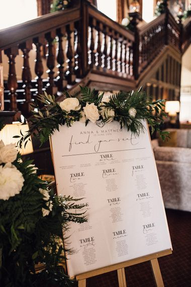 Monochrome Table Plan // Image By Samuel Docker Photography