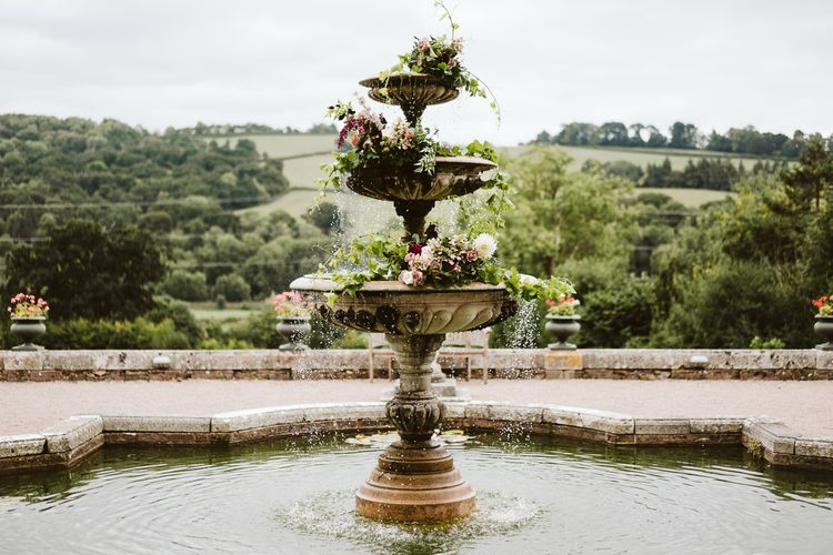 Floral Installation For Fountain // Image By John Barwood Photography