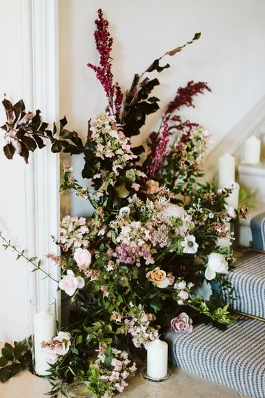 Floral Installation On Staircase // Image By John Barwood Photography