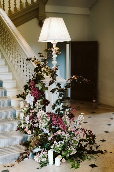 Floral Installation For Wedding On Staircase // Image By John Barwood Photography