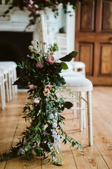 Floral Aisle Decor For Wedding // Image By John Barwood Photography