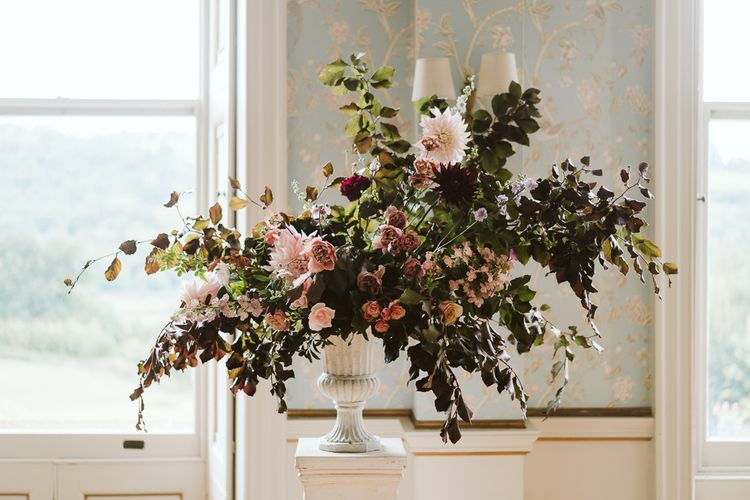 Floral Display In Urn For Wedding // Image By John Barwood Photography