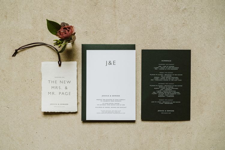 Dark Green Stationery Suite For Wedding // Image By John Barwood Photography