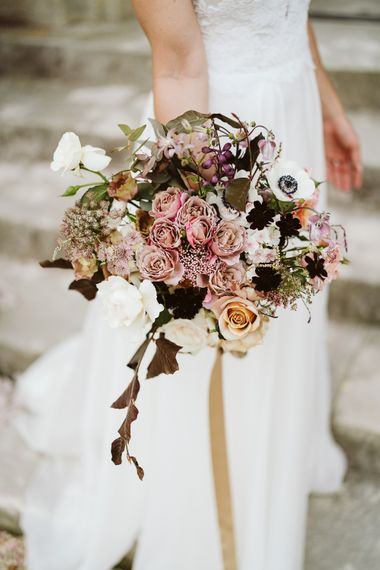 Wedding Bouquets With Pink, Burgundy And Cream Tones // Image By John Barwood Photography