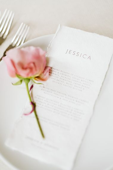 Wedding Breakfast Menu // Image By John Barwood Photography
