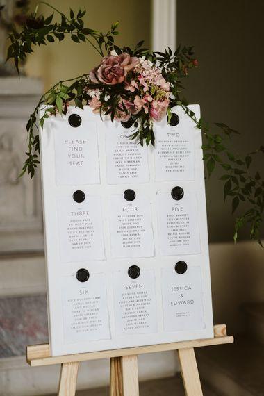 Elegant Table Plan For Wedding // Image By John Barwood Photography