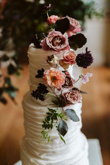 Ruffled Wedding Cake // Image By John Barwood Photography