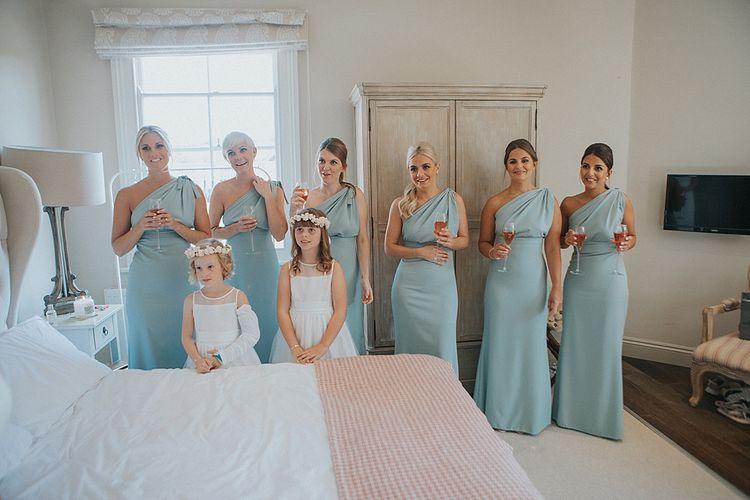 Bridesmaids in Mint Green One Shoulder Vivie-Grace by Jayde Spicer | Pastel Pink & Mint Green Wedding at Granary Estates Suffolk | Julia & You Photography